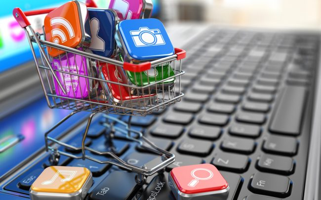 Apps icons in shopping cart