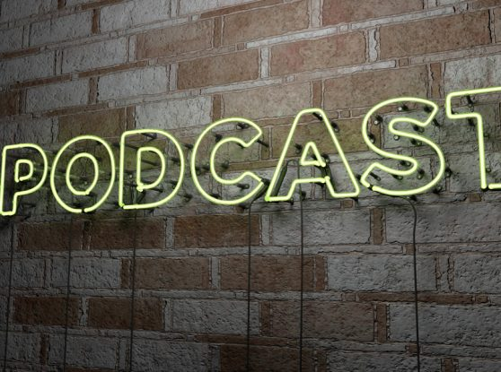 neon podcast sign