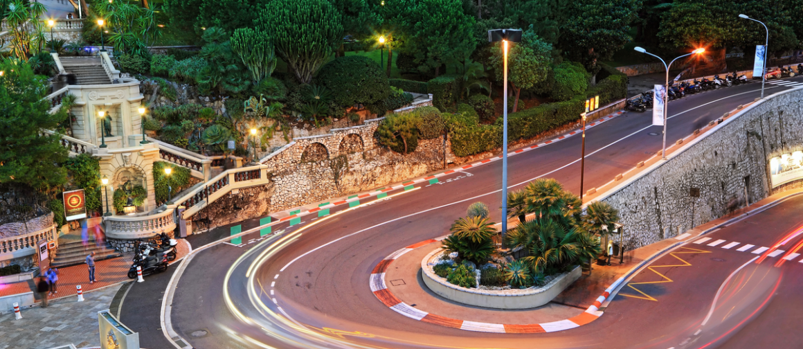 The Grand Hotel hairpin in Monte Carlo at night