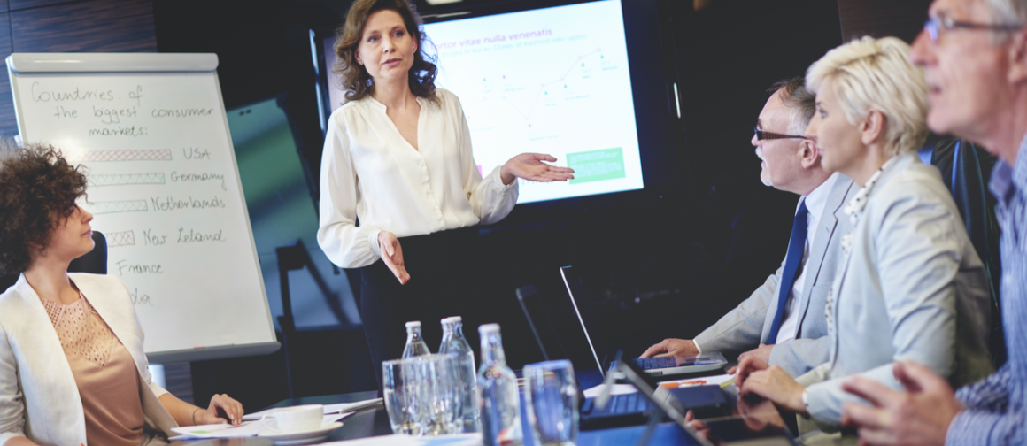 Professional woman giving business presentation